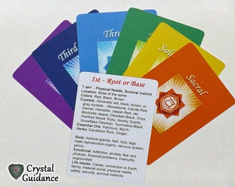 7 Chakra Cards - Quick and Easy Chakra Healing Reference Cards - FREE US SHIPPING