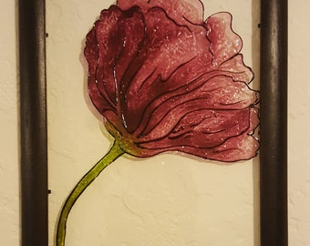 Purple Flower Glass Painting/Glass Art/ Hanging Art/ Framed Art/ Framed Painting/ Colourful Painting