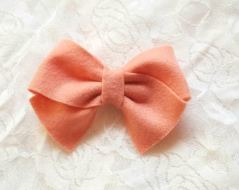 Blush tied hairbow, classic tied hair bows, felt tied hair bow, hair bow, peach felt bow