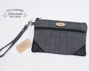 Small Gray with Black Leather Accent - Double Zip Pouch - Clutch - phone purse