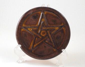 PENTAGRAM PENTACLE  Altar Tile Handmade Pottery