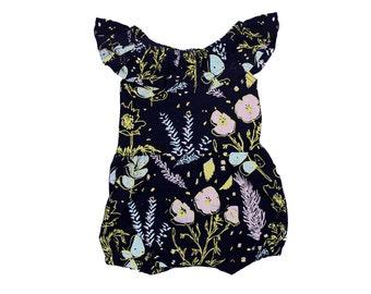 Desert Floral Flutter Top Bloomer Romper in Pale Pink, Blue Mint and Ochre on Black