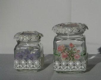 Pair glass jars