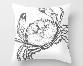 Crab Pillow  - Crab Throw Pillow  - Nautical Pillow  - Nautical Decor - Summer Decor - Beach House Decor - By Aldari Home