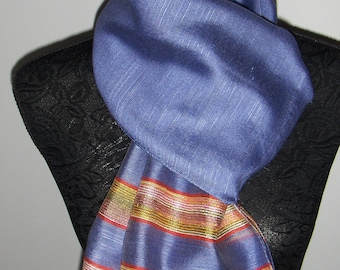 Vintage blue scarf / Rectangular blue scarf with two red and yellow stripes at the bottom on each side
