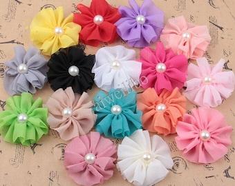 10 pcs 6 cm Chiffon Flower With Pearl Center, Folded Flower, Fabric Flower, Headband Flower, Diy Hair Accessories