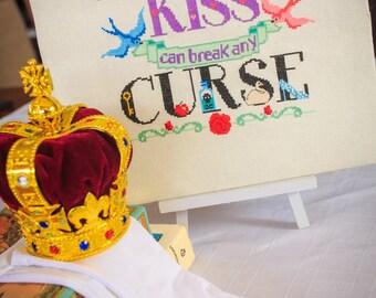 True Love Kiss Modern Cross Stitch Pattern - Once Upon a Time - Digital Downloadable PDF Pattern