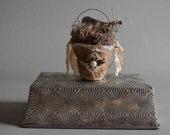 Handmade Spring Bird and Nest Altered Peat Pot Spring Easter Decoration Shabby Cottage Rustic Farmhouse Style