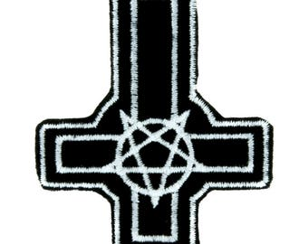 Inverted Pentagram Cross Patch Iron on Applique Occult Clothing - DYS-PA-PENTACROSS-Patch