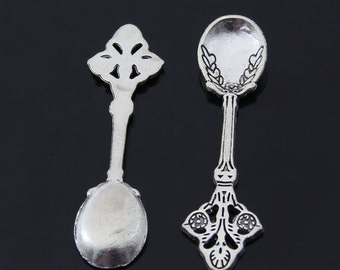 10pcs 60x16mm Antique Silver Spoon Charm Pendants Tableware Charm Pendant Y4142