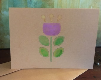 Flower hand painted greeting card, blank tulip card, blank note card, watercolor greeting card, thank you card, birthday card, hand made