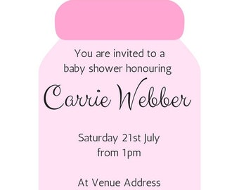 invitations, template, download, printable, baby shower, games, pink, blue, set of 5