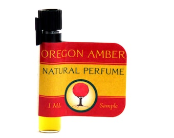 Oregon Amber Natural Botanical Perfume SAMPLE - featuring an amber accord of rose, ambrette, balsam, musk, vanilla and ginger.