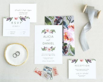 Invitation Template. Floral Wedding Invitation. Peony Wedding Invitations Template. Modern Wedding Invitation Templates. Simple Wedding. I-6