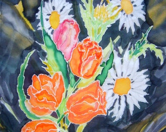 Flowers Batik Silk  Handpainted
