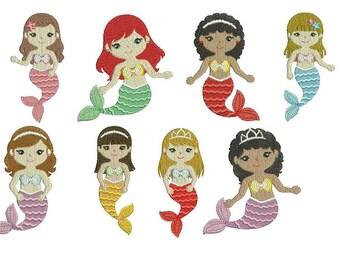 Princess Little Disney Mermaid Mermaids Under the Sea EMBROIDERY Design Set Fill Design Instant Download EN2045F