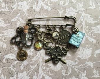 Pirate Kilt Safety Pin - Octopus, Message Bottle, Coins, Mermaid, Scales, Helm, Treasure Chest, Pirate Skull, Treasure Island Book, Crab
