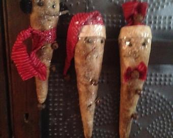 Primitive Snowman Icicle Ornaments/Bowl Filler