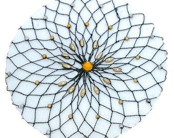 Silver And Gold  Beaded Crochet Hair Net For Bun With single Stone In The Middle, Crochet Bun Holder,