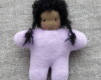 Waldorf  baby girl doll 3 inch (8 cm) small doll pocket doll natural  toy birthday party favors