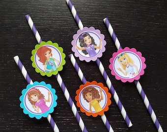 Lego friends inspired straws party favors also available Peppa pig/my little pony/shopkins/little einsteins/bubble guppies/Hatchimals