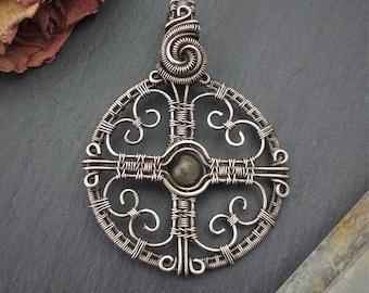 Hearts Cross pendant, wire wrap, copper pendant, silver pendant, silver jewelry, copper jewelry, christian religious jewelry