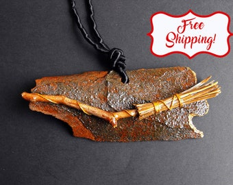Witches broomstick necklace Witch necklace Witchcraft necklace Witch pendant Wiccan pendant Witchy jewelry Halloween witch costume adult