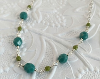 Turquoise and Olivine Faceted Czech Glass Necklace
