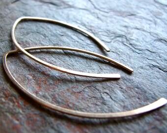 Yellow Gold Filled Graceful Curve Earrings - Lightweight Long 14K Goldfill Earrings