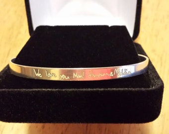 Say Anything in your handwriting.The ORIGINAL STERLING SILVER cuff Bracelet!!-- Signature Expressions--Exclusively by One Savvy Sister