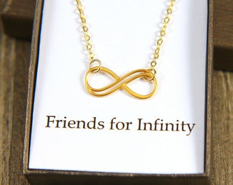 Friend Necklace, Gift for Friend, Infinity Necklace, Gold Infinity Necklace, Friendship Necklace, Infinity Jewelry, Friends Forever Necklace