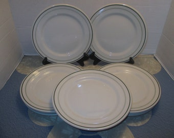 Sterling  China Company - Triple Green Line Restaurant Hotel Ware Diner Luncheon Plates - Set of 4