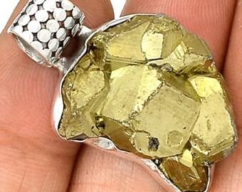 Peruvian Golden Pyrite 925 Sterling Silver Pendant