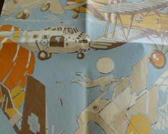 C861)  Vintage Airplane Theme Wallpaper section