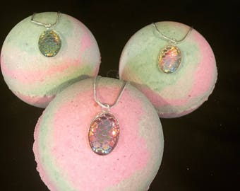 Mermaid or Dragon Bath Bomb with Scale Necklace Surprise