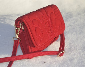 Little red handbag, bag with rhinestones, handbag clutch