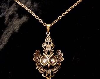Baroque Owl Pendant Necklaces