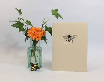 Honeybee notecard. Save the bees! Bee note card with honey bee facts. Eco-friendly notecard for correspondence or thank you notes.