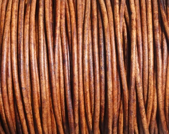 2mm Distressed Light Brown Leather Cord  - Natural Dye - 2 Yard Increments