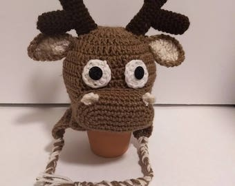 Reindeer hat, moose hat, moose, winter hat, kids hats, boys hat, christmas hats, gifts hats, toddler hats,brown hats, toddler hats, girls.