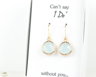 Blue Sea Opal Gold Earrings, Blue Opal Earrings, Bridesmaid Earrings, Blue Wedding Jewelry, Wedding Accessories, Gold Earrings #807