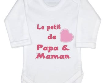 Baby girl Bodysuit: the small heart dad and MOM