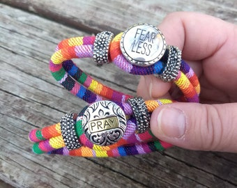 Woven Colorful Bracelet with the message: Pray.