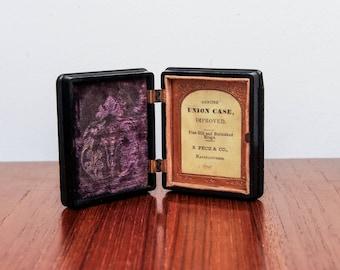 Antique American Civil War Union Officer Daguerreotype Thermoplastic Union Case - 1856