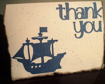 Pirate Thank You Cards, Treasure Map Thank You Card, Pirate Thank You Card, Pirate Card Set, Pirate Party, Pirate Ship Card, Set of 10