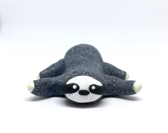 SLOTH FIGURINE - Polymer Clay sloth figurine, totem - Kawaii Cute Handmade animal figure - Unique!