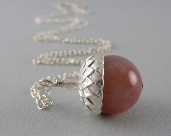 Sweet Mauve Simple Acorn Gemstone Necklace with Free USA Shipping