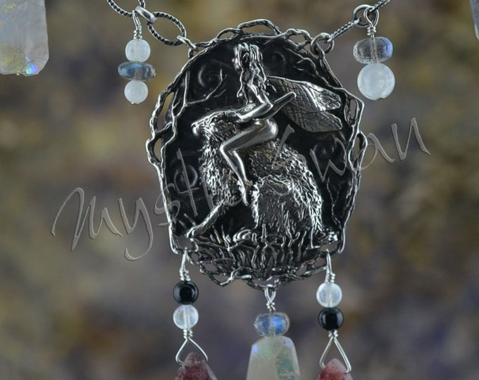 Faerie and Rabbit Mystical Fantasy Necklace with Moonstone, Mocsovite, Labradorite and Black Onyx