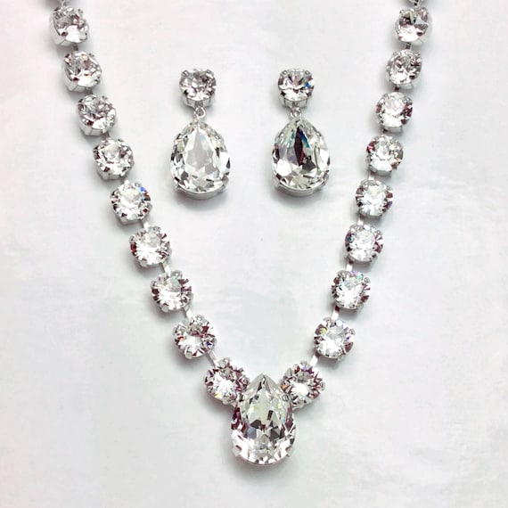 Swarovski Crystal 8.5mm Radiant Necklace with 13x18mm Crystal Drop & Stunning 13x18mm Stud Drop Earrings -Designer Inspired -FREE SHIPPING