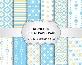 Light Blue Digital Paper, Geometric Digital Paper, Digital Paper with Blue Yellow Geometric Patterns for Scrapbooking, Geometric Background